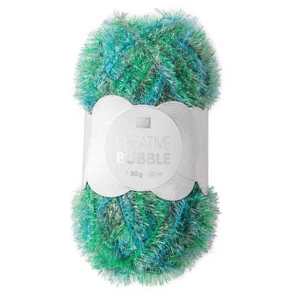 Creative Bubble Wolle 50g ca. 90m grünmix Nadel Stricken Nr. 2, Häkeln Nr. 4, 100% Polyester