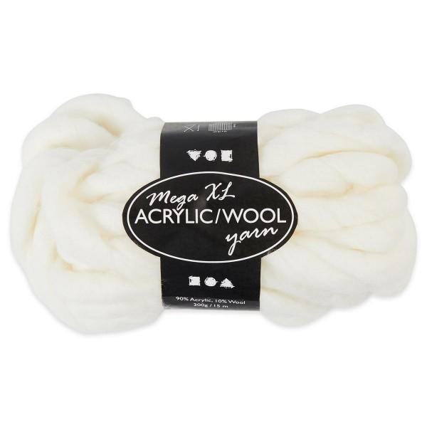 XXL Acryl-Wolle LL ca. 15m 300g creme 90% Polyacryl, 10% Wolle, für Nadel Nr. 35