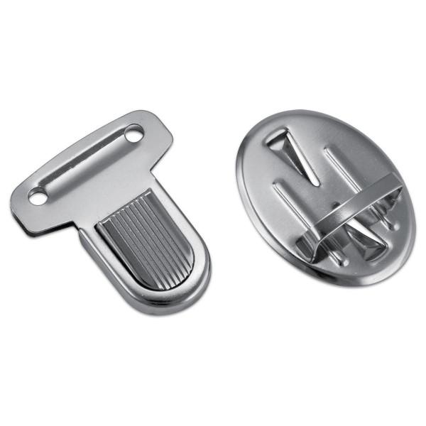 Taschenschnalle Metall ca. 35x30mm 2 Sets nickelfarben