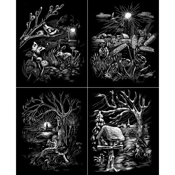 Kratzbilder-Set silber 4 Jahreszeiten 4 St. à ca. 10,5x15cm