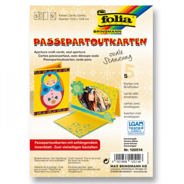 Passepartoutkarten DIN A6 5 St. oval bananengelb inkl. Kuvert&Einlegeblatt, 220g/m²