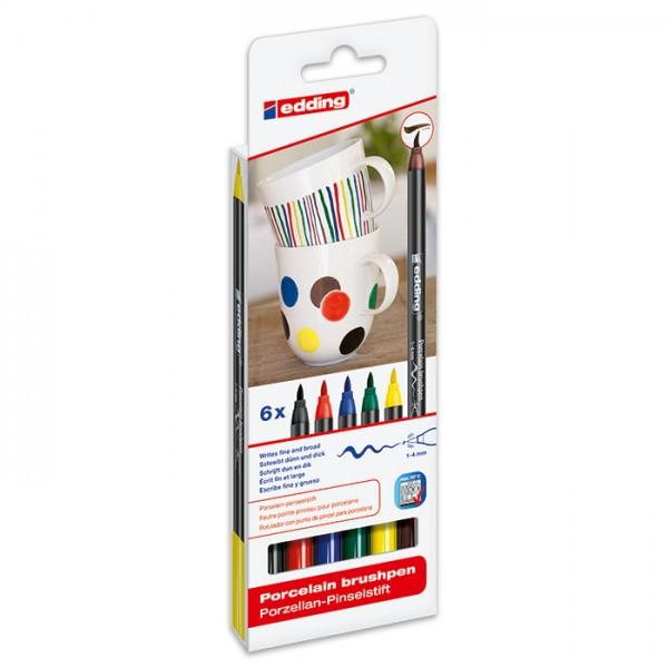 edding 4200 Porzellan-Pinselstifte 6 St. Standardfarben Strichbreite 1-4mm