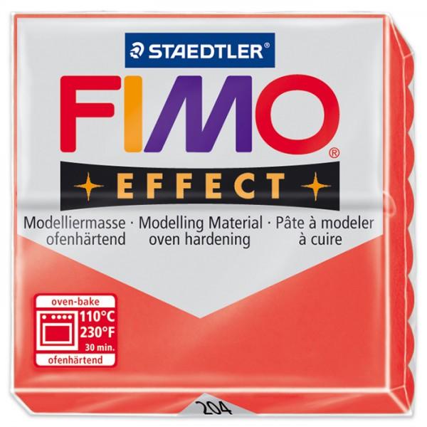 FIMO effect 55x55x15mm 57g transluzent rot ofenhärtende Modelliermasse