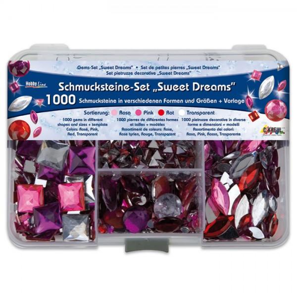 Schmucksteine-Set 1.000 St. rosa/pink/rot/transp. 5-20mm, versch. Formen, Kunststoff