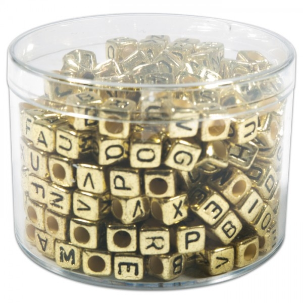 Buchstaben-Perlen Würfel 6mm 50g goldf.-schwarz ca. 300 St., Kunststoff, Großloch ca. 3mm