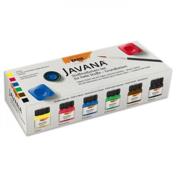 Stoffmalfarben-Set Grundfarben 6 Farben à 20ml ink. Pinsel, für helle Stoffe