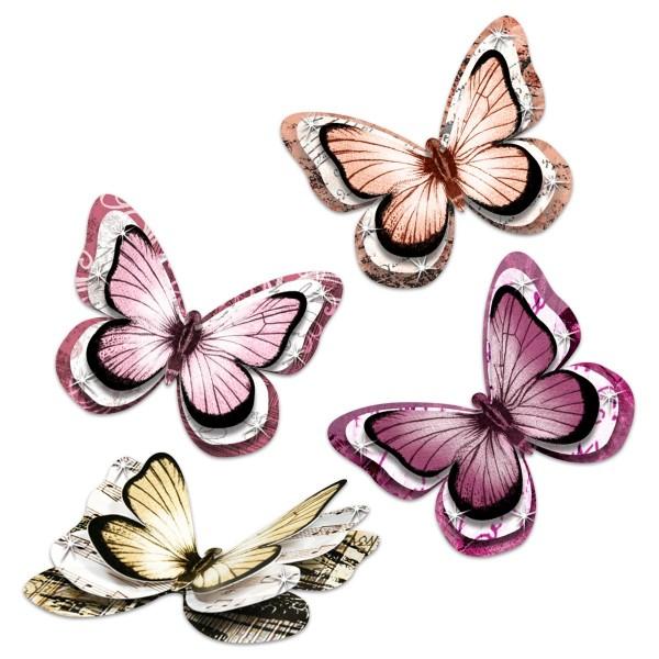 3D-Deko-Schmetterlinge Papier 24 St. Shabby Rose Rosetöne, je 8,5x7cm, 3-lagig