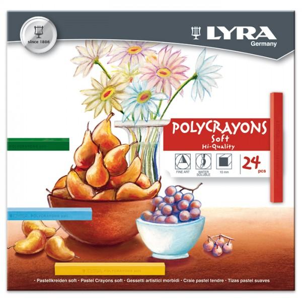 Polycrayons soft 10x10x65mm 24 Pastellkreiden