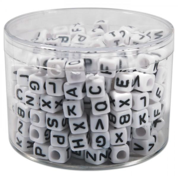 Buchstaben-Perlen Würfel 6mm 50g weiß-schwarz ca. 300 St., Kunststoff, Großloch ca. 3mm