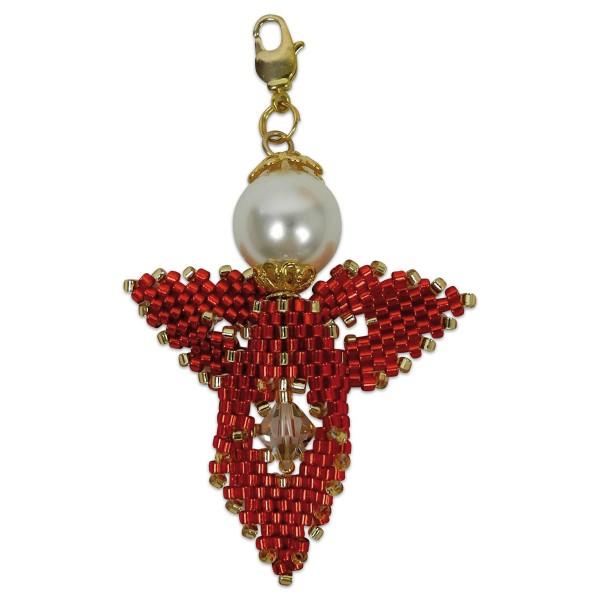 Kreativset Peyote Engel rot-goldfarben ca. 5cm, Perlen-Bastelset, Kunstoff/Metall
