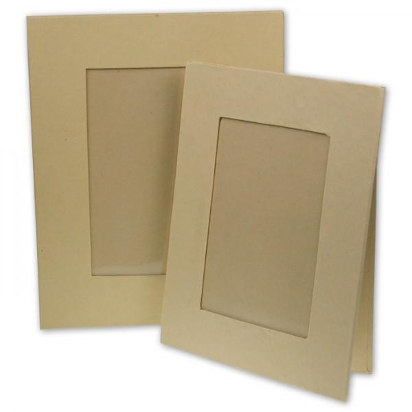 Bilderrahmen mit Standfuß Pappmaché 19x15cm glasklare Folie, Ausschnitt: 128x88mm