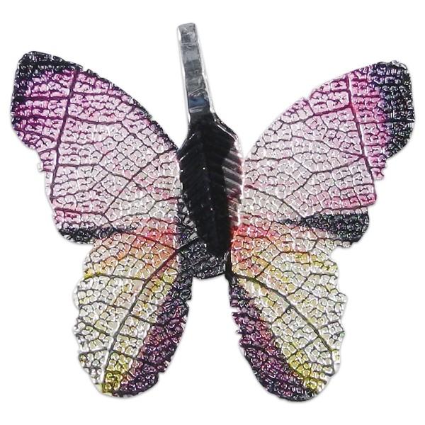 Metallanhänger Schmetterling silberfarben rosa-lila-ton ca. 30x27mm, Lochgröße ca. 4x7mm