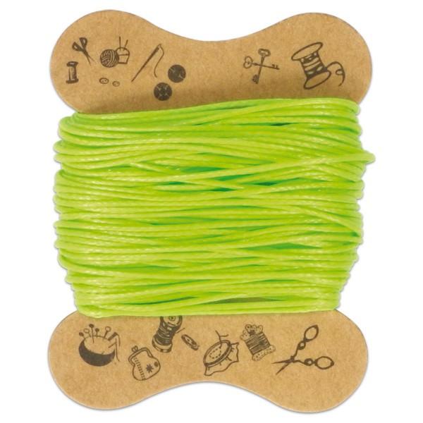 Kordel gewachst 0,5mm 10m hellgrün 90 % Polyesterfaser/10 % Baumwolle