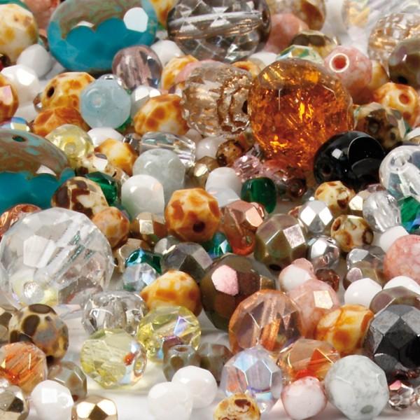 Glasschliffperlen-Mix 400g multi color harmony 3-15mm, Lochgr. ca. 0,5-1,5mm