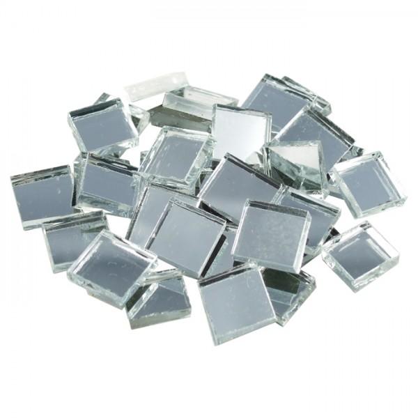 Spiegelmosaik 15x15mm 125g ca. 70 Steine silberf. 3-4mm