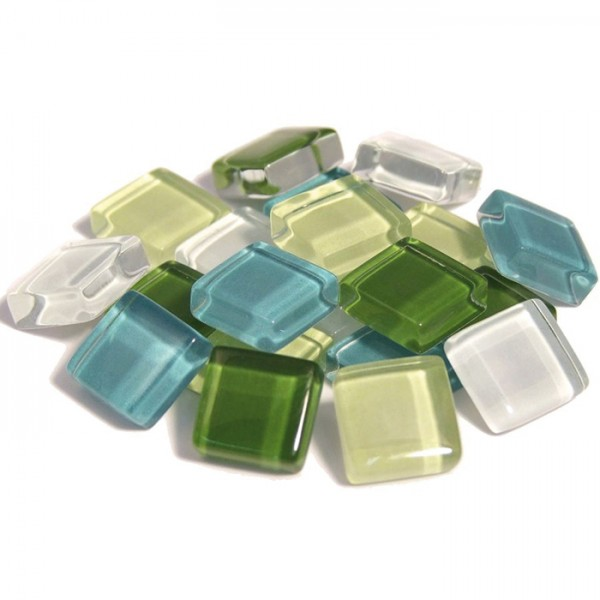 Mosaik Soft-Glas 10x10x4mm 200g grün mix ca. 210 Steine