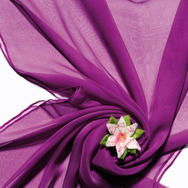Schal Chiffon 3,5 55x180cm purpur 100% Seide