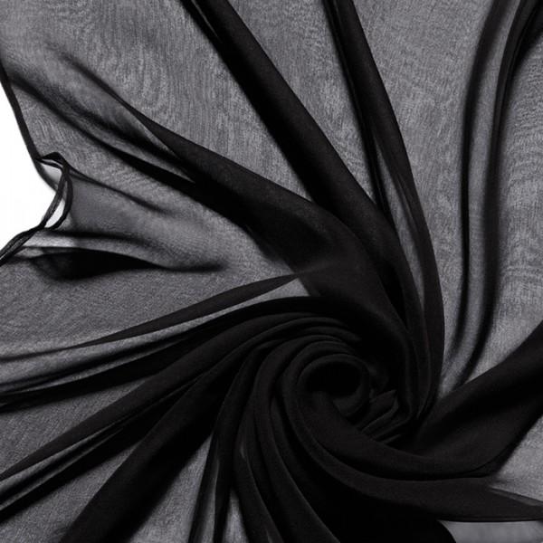 Schal Chiffon 3,5 55x180cm schwarz 100% Seide