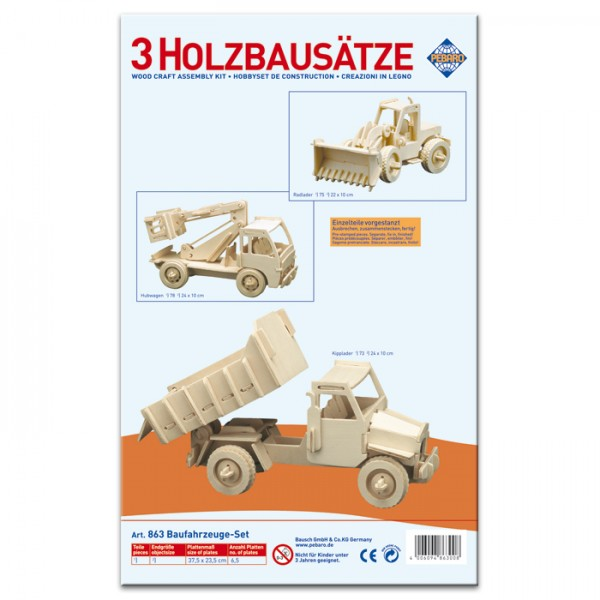 Holzbausatz Set Baufahrzeuge ca. 23-25cm 3 St. vorgestanzt, zum Zusammenstecken