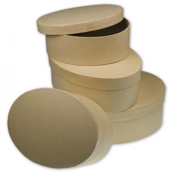 Pappschachteln oval 4er-Set 13,5x10x5cm; 15x11x5,5cm; 16,5x12x6cm; 18x13x6,5cm