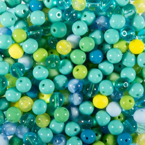 Glasperlen-Mix ca. 5mm 100g blau-türkis Lochgröße ca. 0,8mm