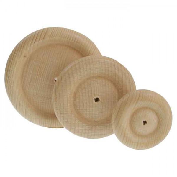 Holzräder Ø 80mm 15mm stark 4 St. natur mit Seitenprofil, Bohrung Ø 4mm