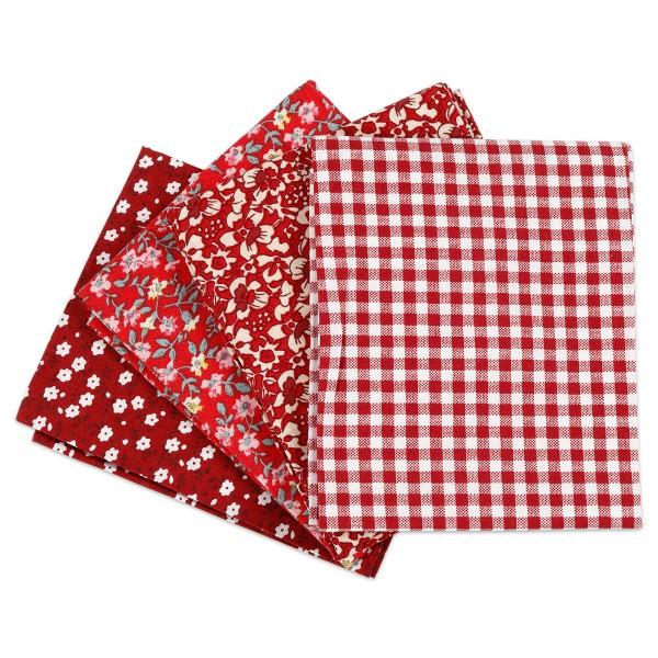 Patchwork-Stoff-Paket 4 Zuschnitte à 45x55cm rot 100% Baumwolle, 100g/m²