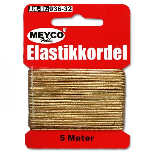 Elastikkordel 1mm 5m goldfarben 20% Polyester, 80% Elastodien (Latex)