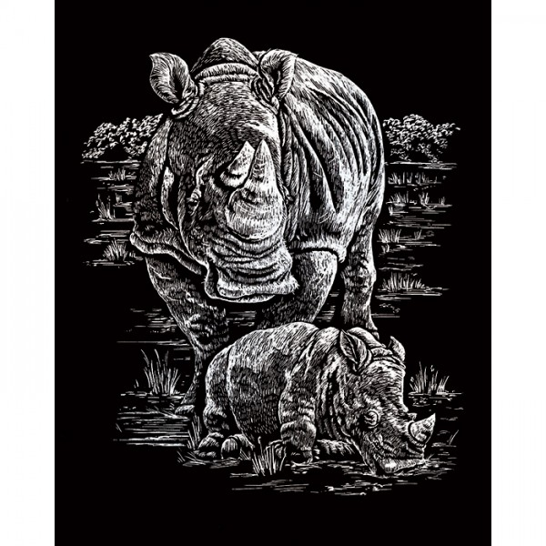 Kratzbild silber 20,3x25,4cm Nashorn&Babys