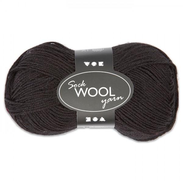 Sockenwolle 50g schwarz 75% Wolle, 25% Polyamid, für Nadel Nr. 2,5-3