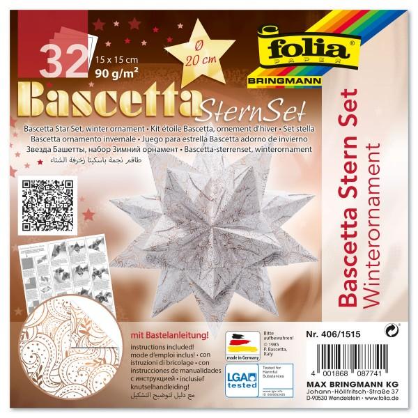 Bascetta-Stern ca. Ø 20cm 32 Bl. weiß/kupfer Winterornament 15x15cm, 90g/m²