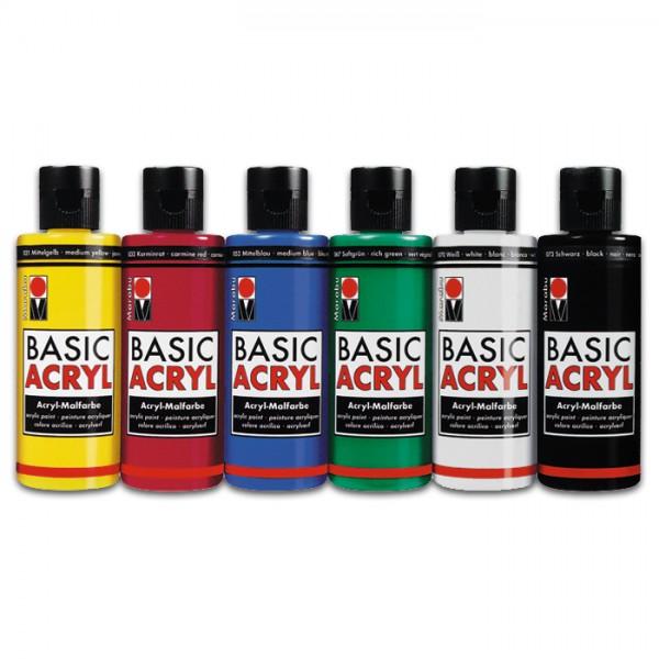 Marabu Basic Acrylfarben Set 6 Farben à 80ml