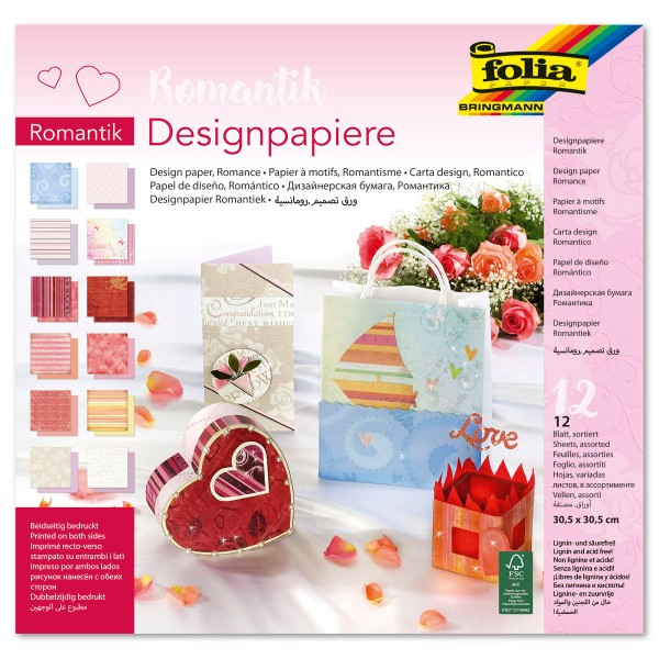 Designpapier-Block 30,5x30,5cm 12 Bl./Motive Romantik mit Glitter, 190g/m²
