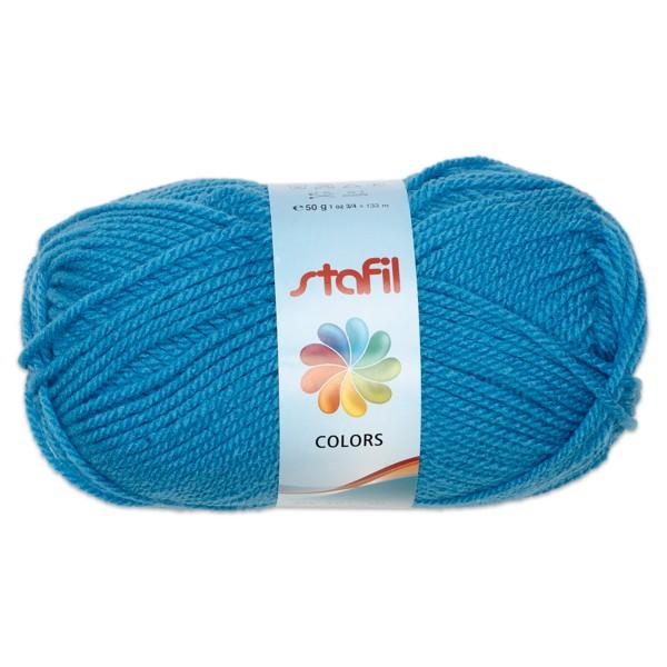 Wolle Colors 50g mittelblau LL ca.133m, Nadel Nr. 3, 100% Polyacryl