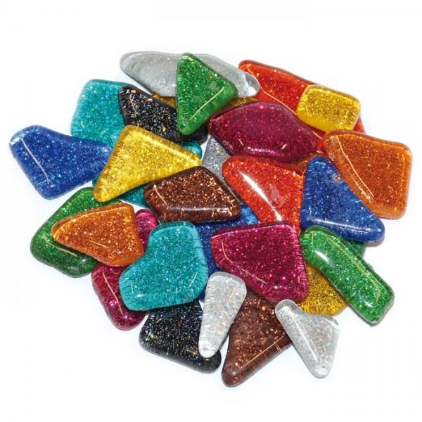 Mosaik Soft-Glas polygonal 100g Glitter mix 5-20mm, 4mm stark, ca. 105 Steine