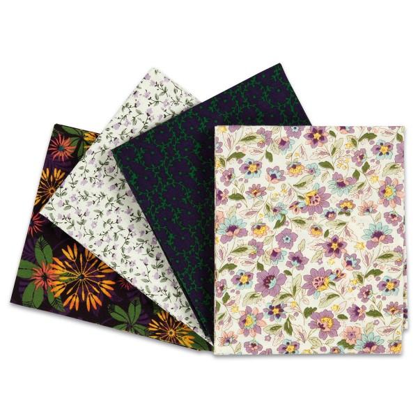 Patchwork-Stoff-Paket 4 Zuschnitte à 45x55cm grün/gelb/lila 100% Baumwolle, 100g/m²