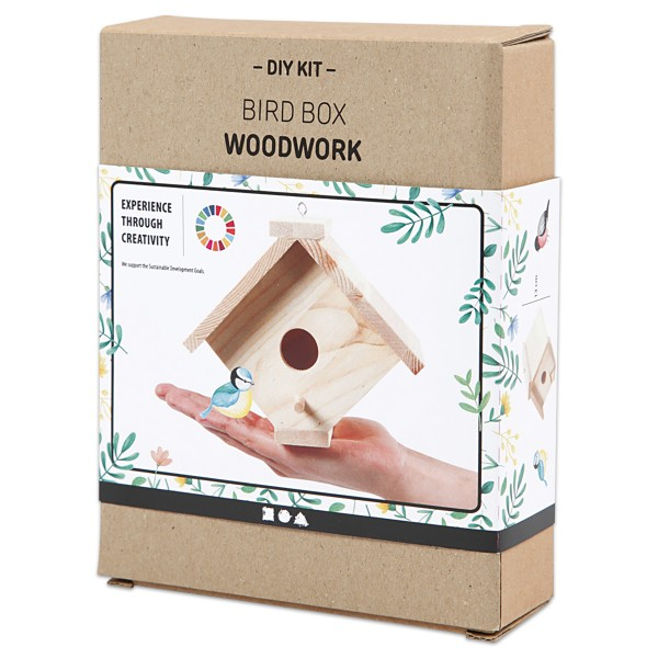 Holzbausatz Vogelhaus 2 13x14,5x16cm natur 9 Teile & Schrauben/Haken & Anleitung
