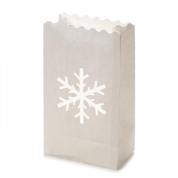Papier-Lichttüten Flocke ca.26x15x9cm 10St weiß - Preis gesenkt!