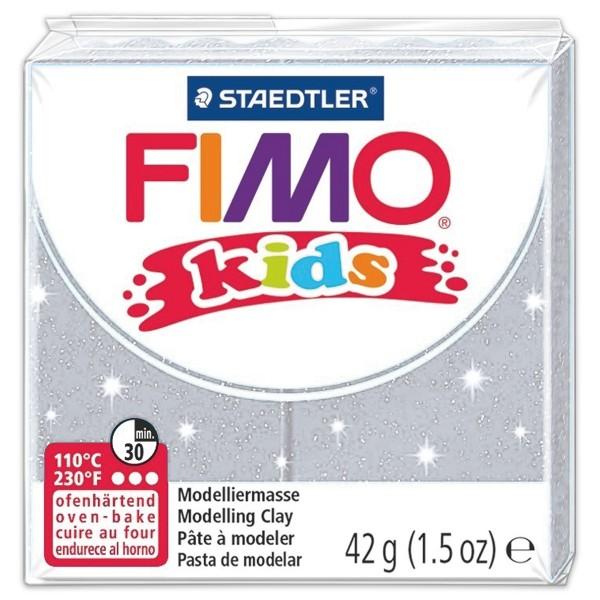 FIMO kids 55x55x10mm 42g glitter silberfarben ofenhärtende Modelliermasse