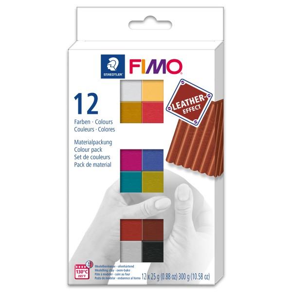 FIMO Leder-Effekt Set 12 St./Farben à 25g ofenhärtende Modelliermasse, leather effect