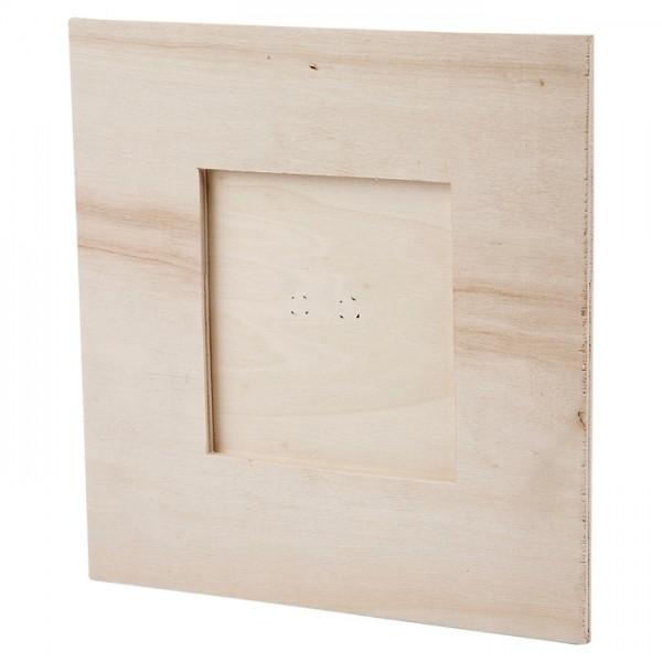 Bilderrahmen Sperrholz 16x16cm natur ohne Glasscheibe, Ausschnitt 8x8cm
