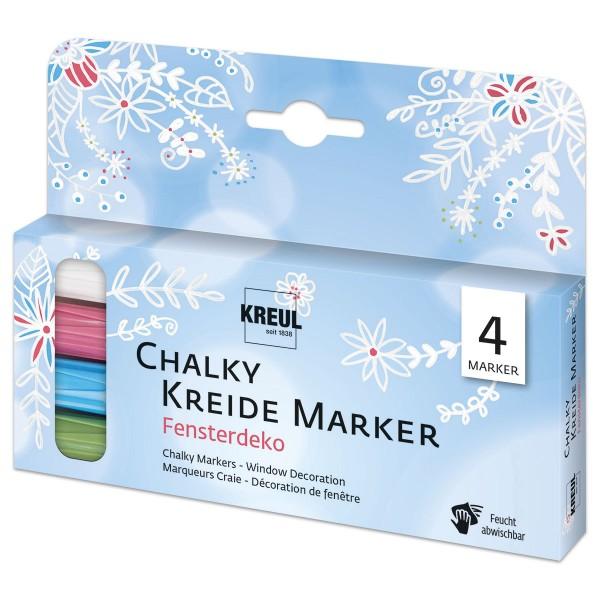Chalky Kreide Marker Strichstärke 2-3mm 4 St. Set Fensterdeko