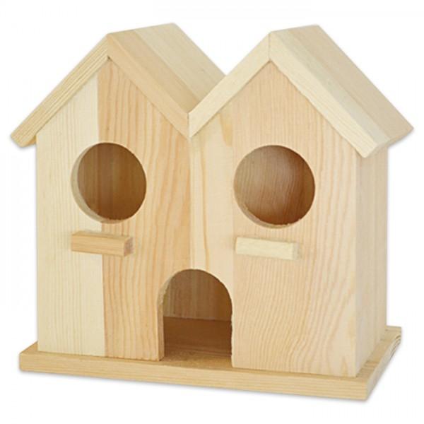 Vogel-Doppelhäuschen Holz 14x14,5x8,5cm natur