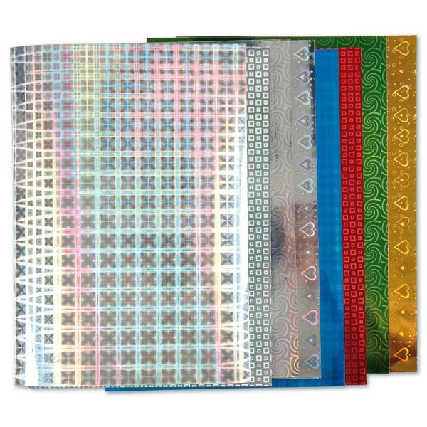 Hologrammpapier 120g/m² DIN A4 8 Bl./Designs einseitig kaschiert