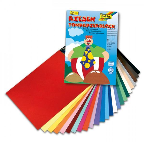 Riesen-Tonpapierblock 24x34cm 50 Bl./25 Farben 130g/m²
