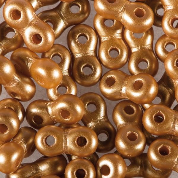 Infinity-Beads DeluXes 3x6mm 5,5g hellbraun seidenmatt, 2-Loch-Glasperle, Lochgr. ca. 0,9mm