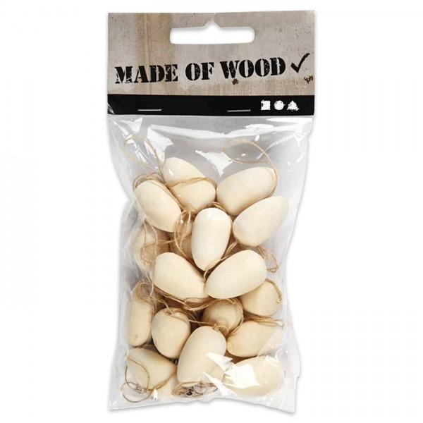Holz-Eier mini mit Band 15x25mm 20 St. natur