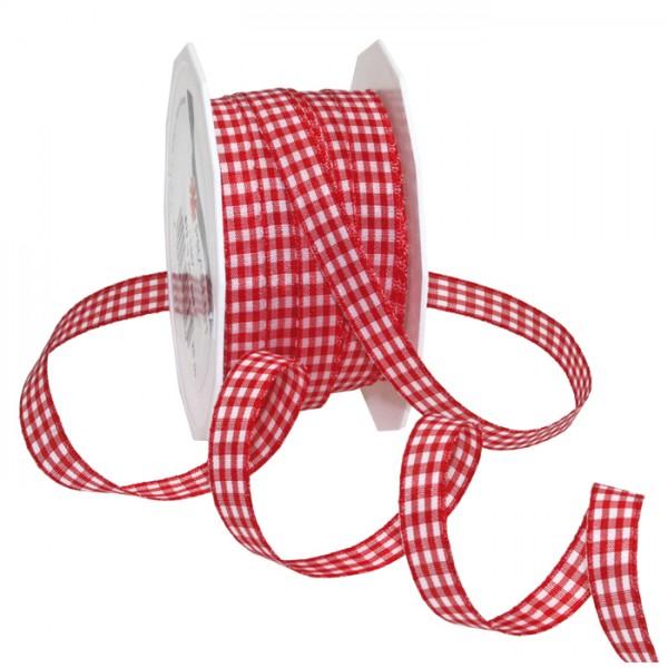 Vichyband/Zierband 1cm 20m rot/weiß 100% Polyester