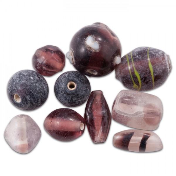 Glasperlen glänzend 9-15mm 100g amethyst handgefertigt, Lochgr. ca. 0,9-1,5mm