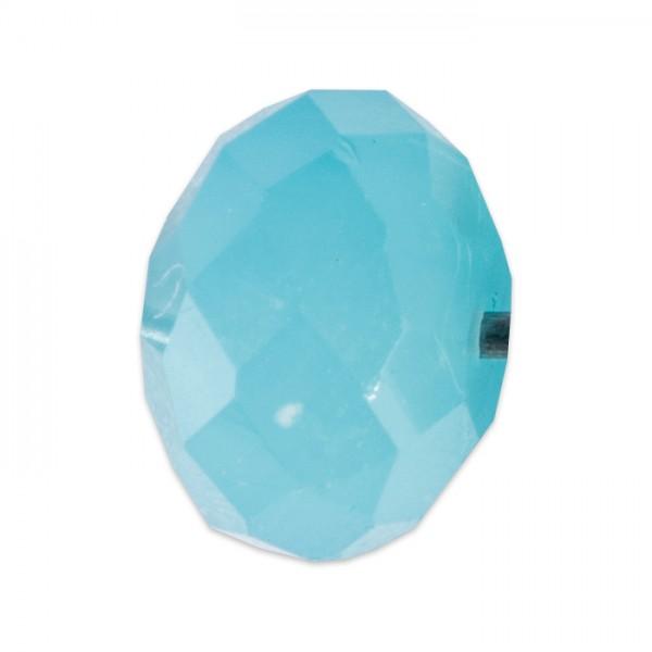 Facettenschliffperlen 6mm 30 St. azorenblau pastellfarben, feuerpoliert, Glas, Lochgr. ca. 1mm